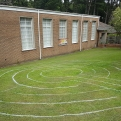 labyrinth painted on the grass at Peter Lee Memorial Methodist Church